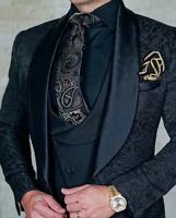 Business Black Men Suits Slim Fit Flora Groom Blazer Tuxedo Jackets 2 Vents Coat