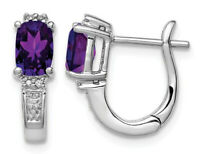 4/5 Carat (ctw) Amethyst Hoop Earrings in Sterling Silver