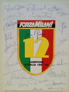 MILAN CAMPIONE D'ITALIA 1991-'92 POSTER AUTOGRAFI GIOCATORI - BELLISSIMO!!