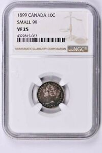 1899 Canada 10 Cents NGC VF 25, Small 99 Witter Coin