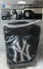 MLB NWT HEAD REST COVERS -SET OF 2- NEW YORK YANKEES - WHITE BLUE GRAY LOGO