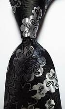 New Classic Floral Black White JACQUARD WOVEN 100% Silk Men's Tie Necktie