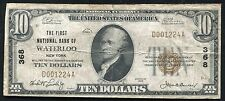 1929 $10 THE FIRST NATIONAL BANK OF WATERLOO, NY NATIONAL CURRENCY CH. #368