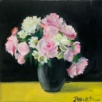 ORIGINAL oil painting canvas impressionistic Floral still lIfe flowers. peonies