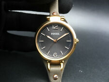 New Old Stock - FOSSIL GEORGIA ES3077 - Gunmetal Dial Gray Leather Lady Watch