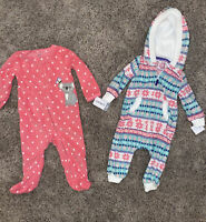 !! Carter's Baby Girl 9 Months Lot Fleece Pajamas & Outfit NWT New With Tags! !!