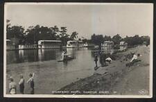 REAL PHOTO Postcard HAMPTON COURT ENGLAND  Houseboat Beach Area 1940's