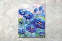 "Abstract Blue Flower Paints 16X20"" CP Print WAll Oil Painting CAnvas Frame Art"