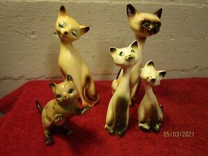 Lot of 5 Siamese Cat Figurines Statues  Lefton Kreiss Salt Pepper Shakers Kitty