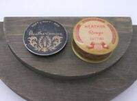 Lot 2 Heather Rouge Vintage Tins, Midcentury Makeup Compacts Holders