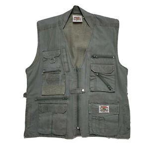 New VTG 80's Medium Indiana Jones Adventure Wear Drab Green Cotton Utility Vest