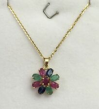 14k Solid Yellow Gold Flat Rolo Chain & Cluster Flower,  Mix Stones Pendant.