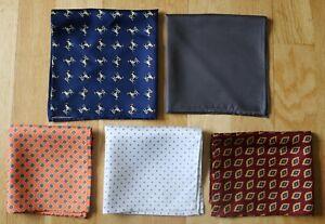 Hand printed Silk Pocket Square handkerchiefs. Various colours & patterns