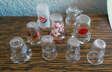 9 Glass Thimbles - Ruffled with flowers and Etched