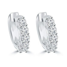 1.40 ct Ladies Round Cut Diamond Huggie Earrings In 14 Kt White Gold