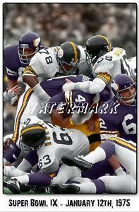 Super Bowl IX Pittsburgh Steelers vs. Minn Viking PRINT (comes in 4 sizes)