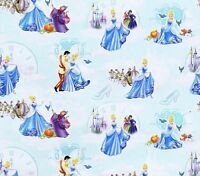 Fat Quarter Disney Cinderella Characters Toss 100% Cotton Quilting Fabric Blue