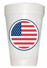 Us Flag Patriotic July 4th Party Cups-Pre-Printed Styrofoam Cups