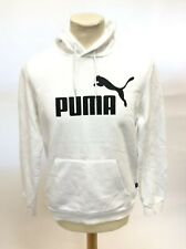Puma White Hoodie With Black Logo UK Size Adult Small
