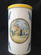 FRENCH HB HENRIOT QUIMPER BISCUIT TIN VINTAGE SHABBY CHIC RUSTIC MASSILLY FRANCE