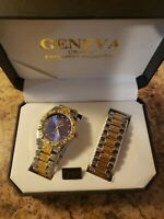 GENEVA Mens watch braclet combo iced out bling gold Silver stainless quartz BLUE