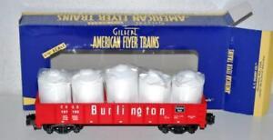 American Flyer 6-48525 Burlington red Gondola w/Cannisters diecast trucks Sgauge