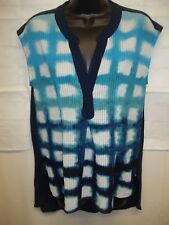 Anthropologie Postmark Womens Blouse Sleeveless S Blue White Shirt dyed New