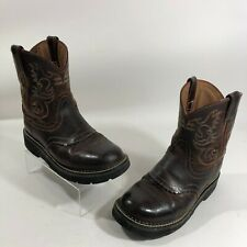 Ariat 5.5 Leather Cowboy Boots Brown Short Embroidered Detail Western Cowgirl