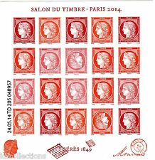 bloc feuillet vermillon salon du timbre Paris 2014 F4871 tirage 35000