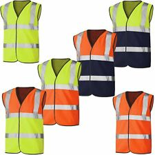 HI VIS VIZ HIGH VISIBILITY VEST SAFETY WAISTCOAT SECURITY WORK REFLECTIVE TOP