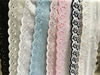 "~Bows Ribbon and Lace~3""/75mm Premium Quality Cotton Broderie Anglaise Flat Lace"