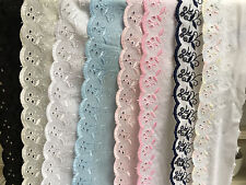 Premium Quality Cotton Broderie Anglaise Flat Lace Choose Length Colour & Width
