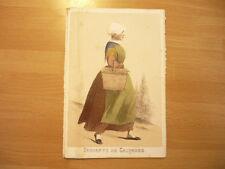 LITHOGRAPHIE ORIGINALE 1850 COSTUME DE SERVANTE DU CALVADOS NORMANDIE