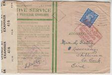MILITARY 1944? DOUBLE censored OAS privilege envelope to SKIBBEREEN IRELAND