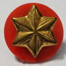 Vintage Gold Tone Star W/ Red Plastic Background Hat Tie Tac Lapel Pin Brooch