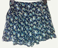 Womens ATMOSPHERE Navy Blue Button Detail Floral Skirt Zip Shorts - UK Size 8