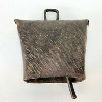 Antique VTG Hand Forged Metal Cowbell Farmhouse Primitive Prim Western Textured