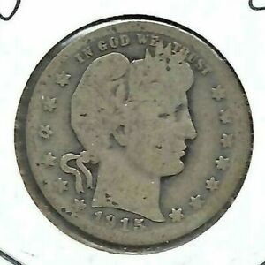 1915 Denver Circulated Silver Business Strike Barber Quarter Coin!