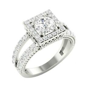 I1 G 2.25Ct Split Shank Square Halo Naural Diamond Solitaire Ring 14K Solid Gold