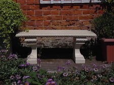 Stone Straight Classic Garden Bench (Natural Cream Stone)