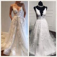2018 Boho Beach Lace Wedding Dresses Bridal Gowns Deep V-Neck A Line Applique