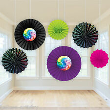 6 Assorted Groovy 70's Disco Fever Birthday Party Hanging Paper Fan Decorations