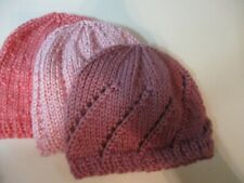 Small Preemie 3-6 lbs Baby Hats. Set of 3. Hand knitted . Shades of Pink