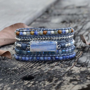 Natural Stone Beaded Tila, Lapis Lazuli, Labradorite, Beads Druzy Wrap Bracelet