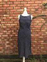 M&s Navy Polka Dot Midi Dress Size 10 Wrap Dress Summer Dress B16