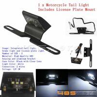 LED License Plate Mount Holder Bracket With Brake Tail Light For ATV Cafe Racer