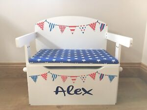 Toy Box Cushion ONLY Blue With White Stars Handmade (Toy Box Sold Separately)