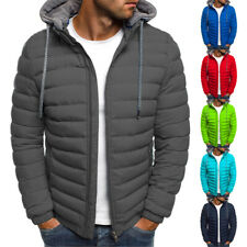 Mens Jackets Zip Up Quilted Bubble Jackets Plain Padded Puffer Winter Warm Coats