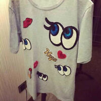 cartoon eyes Embroidered Cloth Iron On Patch Sew Motif Applique badge Sequin E&F