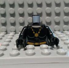 LEGO CATWOMAN TORSO BLACK FEMALE OUTLINE GOLD NECKLACE BATCAVE MINFIGURE 76052